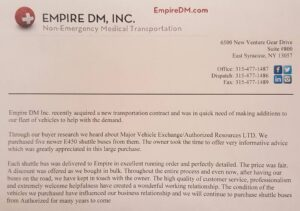 Review for Major Vehicle Exchange from Empire DMC Inc.